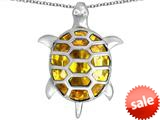 Original Star K™ Good Luck Turtle Pendant with Oval Simulated Citrine style: 309378