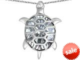 Original Star K™ Good Luck Turtle Pendant with Oval Simulated Diamond style: 309379