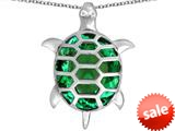 Original Star K™ Good Luck Turtle Pendant with Oval Simulated Emerald style: 309380