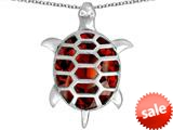 Original Star K™ Good Luck Turtle Pendant with Oval Simulated Garnet style: 309381