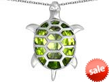 Original Star K™ Good Luck Turtle Pendant with Oval Simulated Peridot style: 309382