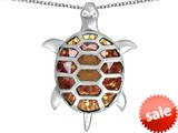 Original Star K™ Good Luck Turtle Pendant with Oval Simulated Imperial Yellow Topaz style: 309384