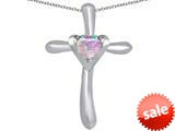 Original Star K™ Cross Love Pendant with 6mm Heart Shape Created Pink Opal style: 309388