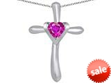 Original Star K™ Cross Love Pendant with 6mm Heart Shape Created Pink Sapphire style: 309389