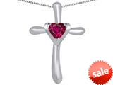 Original Star K™ Cross Love Pendant with 6mm Heart Shape Created Ruby style: 309390