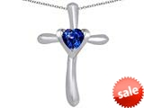 Original Star K™ Cross Love Pendant with 6mm Heart Shape Created Sapphire style: 309391