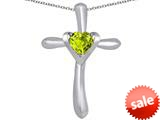 Original Star K™ Cross Love Pendant with 6mm Heart Shape Simulated Green Amethyst style: 309394