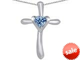 Original Star K™ Cross Love Pendant with 6mm Heart Shape Simulated Aquamarine style: 309395