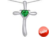 Original Star K™ Cross Love Pendant with 6mm Heart Shape Simulated Emerald style: 309399