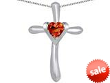 Original Star K™ Cross Love Pendant with 6mm Heart Shape Simulated Orange Mexican Fire Opal style: 309400