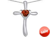 Original Star K™ Cross Love Pendant with 6mm Heart Shape Simulated Garnet style: 309401