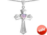 Original Star K™ Heart Cross Love Pendant with Heart Shape Created Pink Opal style: 309406