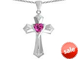 Original Star K™ Heart Cross Love Pendant with Heart Shape Created Pink Sapphire style: 309407