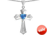 Original Star K™ Heart Cross Love Pendant with Heart Shape Simulated Blue Topaz style: 309413