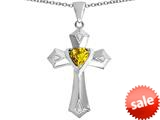 Original Star K™ Heart Cross Love Pendant with Heart Shape Simulated Citrine style: 309414