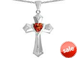 Original Star K™ Heart Cross Love Pendant with Heart Shape Simulated Orange Mexican Fire Opal style: 309417