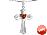 Original Star K™ Heart Cross Love Pendant with Heart Shape Simulated Garnet style: 309418