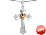 Original Star K™ Heart Cross Love Pendant with Heart Shape Simulated Imperial Yellow Topaz style: 309420