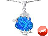 Original Star K™ Loving Mother and Child Dolphin Pendant with  Heart Shape Created Blue Opal style: 309421