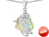 Original Star K™ Loving Mother and Child Dolphin Pendant with Heart Shape Created Opal style: 309422