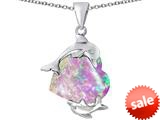 Original Star K™ Loving Mother and Child Dolphin Pendant with Heart Shape Created Pink Opal style: 309423