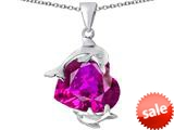 Original Star K™ Loving Mother and Child Dolphin Pendant with Heart Shape Created Pink Sapphire style: 309424