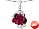 Original Star K™ Loving Mother and Child Dolphin Pendant with Heart Shape Created Ruby style: 309425