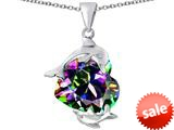 Original Star K™ Loving Mother and Child Dolphin Pendant with Heart Shape Rainbow Mystic Topaz style: 309426