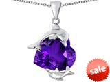 Original Star K™ Loving Mother and Child Dolphin Pendant with Heart Shape Simulated Amethyst style: 309427