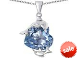 Original Star K™ Loving Mother and Child Dolphin Pendant with Heart Shape Simulated Aquamarine style: 309428