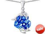 Original Star K™ Loving Mother and Child Dolphin Pendant with Heart Shape Simulated Blue Topaz style: 309429