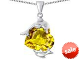 Original Star K™ Loving Mother and Child Dolphin Pendant with Heart Shape Simulated Citrine style: 309430