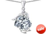 Original Star K™ Loving Mother and Child Dolphin Pendant with Heart Shape Simulated Diamond style: 309431