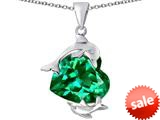 Original Star K™ Loving Mother and Child Dolphin Pendant with Heart Shape Simulated Emerald style: 309432