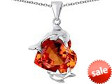 Original Star K™ Loving Mother and Child Dolphin Pendant with Heart Shape Simulated Orange Mexican Fire Opal style: 309433