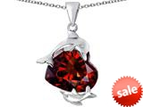 Original Star K™ Loving Mother and Child Dolphin Pendant with Heart Shape Simulated Garnet style: 309434