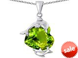 Original Star K™ Loving Mother and Child Dolphin Pendant with Heart Shape Simulated Peridot style: 309436