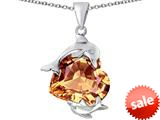 Original Star K™ Loving Mother and Child Dolphin Pendant with Heart Shape Simulated Imperial Yellow Topaz style: 309437