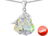 Original Star K™ Lucky Dolphin and StarFish Pendant with Heart Shape Created Opal style: 309439