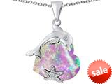 Original Star K™ Lucky Dolphin and StarFish Pendant with Heart Shape Created Pink Opal style: 309440