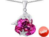 Original Star K™ Lucky Dolphin and StarFish Pendant with Heart Shape Created Pink Sapphire style: 309441