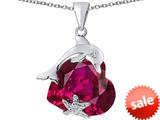 Original Star K™ Lucky Dolphin and StarFish Pendant with Heart Shape Created Ruby style: 309442
