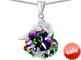 Original Star K™ Lucky Dolphin and StarFish Pendant with Heart Shape Rainbow Mystic Topaz style: 309443