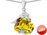 Original Star K™ Lucky Dolphin and StarFish Pendant with Heart Shape Simulated Citrine style: 309447