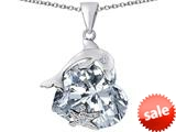 Original Star K™ Lucky Dolphin and StarFish Pendant with Heart Shape Simulated Diamond style: 309448