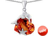 Original Star K™ Lucky Dolphin and StarFish Pendant with Heart Shape Simulated Orange Mexican Fire Opal style: 309450