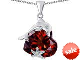 Original Star K™ Lucky Dolphin and StarFish Pendant with Heart Shape Simulated Garnet style: 309451