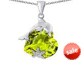 Original Star K™ Lucky Dolphin and StarFish Pendant with Heart Shape Simulated Peridot style: 309453