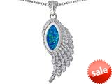 Original Star K™ Angel Wing Pendant with Marquise Shape Created Blue Opal style: 309455