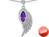 Original Star K™ Angel Wing Pendant with Marquise Shape Simulated Amethyst style: 309459